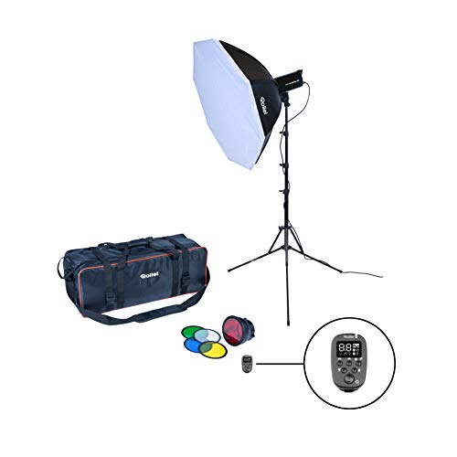 Rollei Studioblitz 400 Single Kit - 400 Ws Blitzleistung, inkl. 90 cm Octabox, Lampenstativ, Profi U7-Funk-Sender, Reflektor mit 5 Farbfolien und Tragetasche