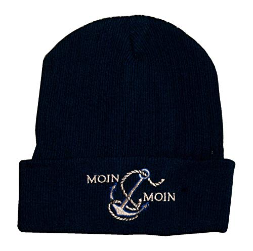 Preisvergleich Produktbild Maritime Strickmütze mit Schriftzug Anker & Moin Moin dunkelblau Mütze One Size