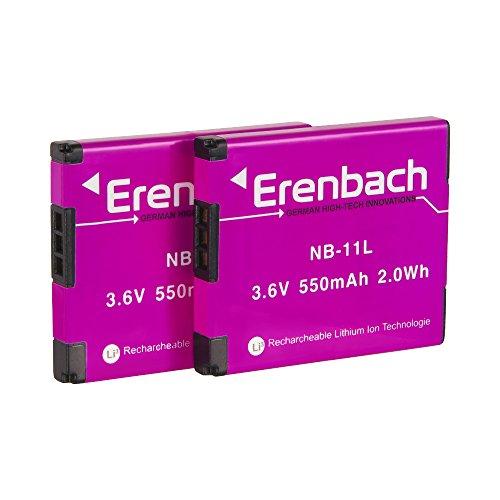Galleria fotografica Set di Erenbach batteria Premium per la Canon IXUS 190/185/170–-- ricambio batteria per Canon NB-11L