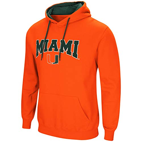 Colosseum NCAA Herren Cold Streak Dual Blend-Fleece Kapuzenpullover Sweatshirt mit Tackle Twill Bestickt Teamname und Logo-Team Farben, Herren, Miami Hurricanes-Orange, XX-Large