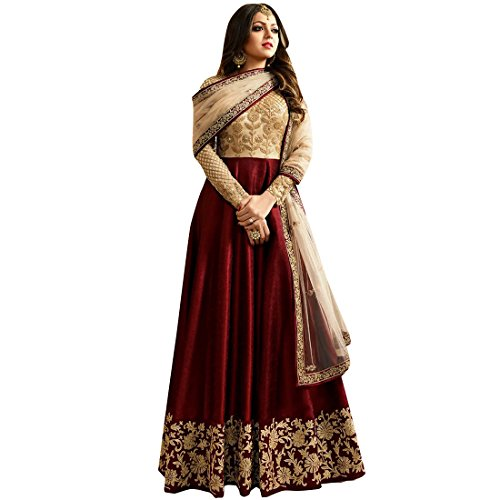 Styles Closet Marron Bangalory Silk Embroidered Anarkali Suit for women