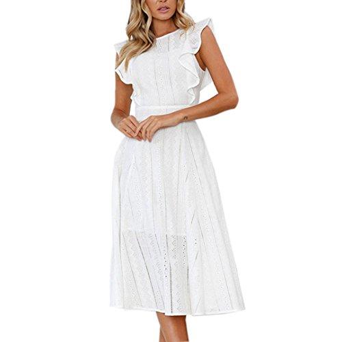 Spitze Sommerkleid Damen,Hevoiok Partykleid Sexy Casual Frauen Reißverschluss Unregelmäßige Runde Hals Strandkleid Abendkleid Midi Kleid Baumwolle (Weiß, L) - Baumwoll-spitzen-kleid