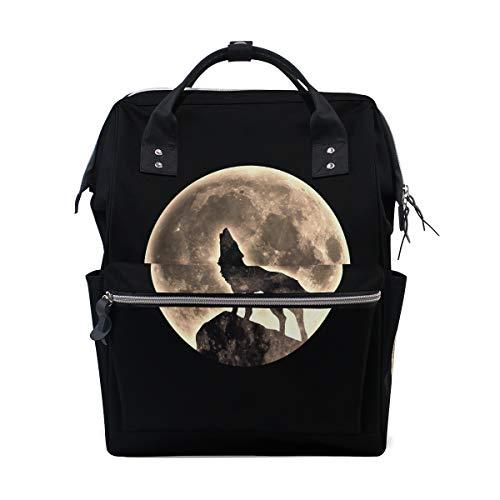 Wildes Heulen erschrockener Mond Nachtwolf großer Kapazitäts Windel bauscht sich Mummy Rucksack multi Funktionen Windel Pflegetasche Tote Handtasche für Kinder Babypflege Reise tägliche Frauen -