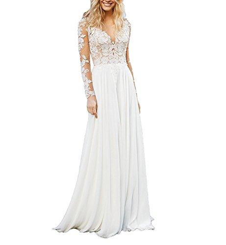 CLLA dress Damen Chiffon Hochzeitskleid Mit Langarm Tiefer V-Ausschnitt Brautkleider Brautmode...