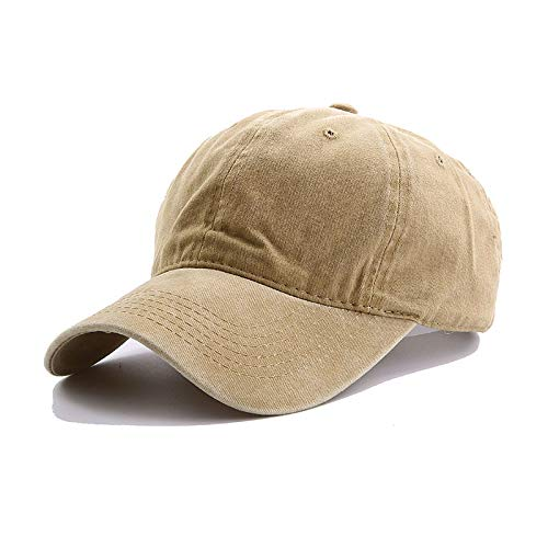 GMZXX Baseballmütze Classic Unisex Washed Baseball Caps Einstellbare Feste Vintage Distressed Baumwolle Papa Mode Schnell trocknende Baseballmütze Einstellbare Khaki -