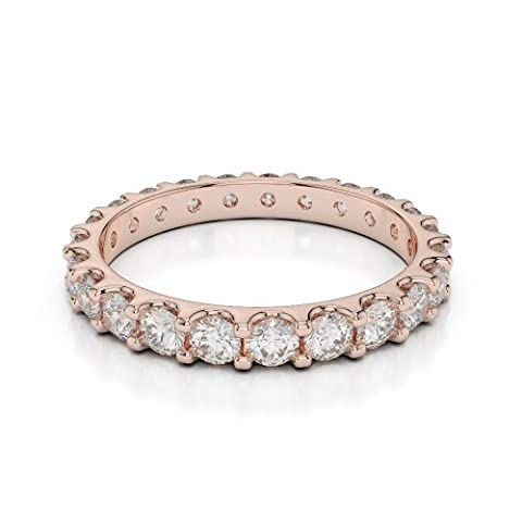 18Kt Rose Gold 1.15 Ct H-I Certified Round Cut Diamond Full Eternity Ring AGDR-1105