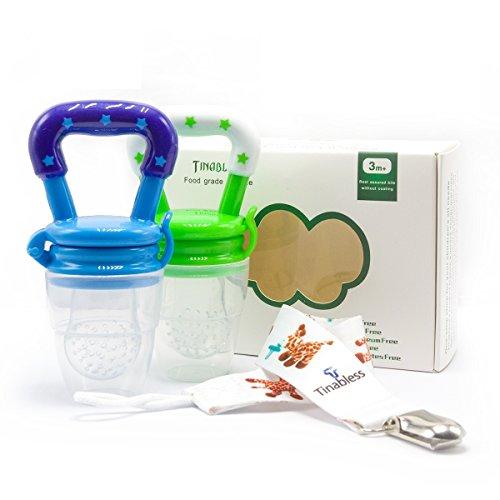 Produktbild Fruchtsauger, Tinabless Schätzchen Schnuller Gemüse sauger für Schätzchen mit 2 und Clip ( Blau und grün
