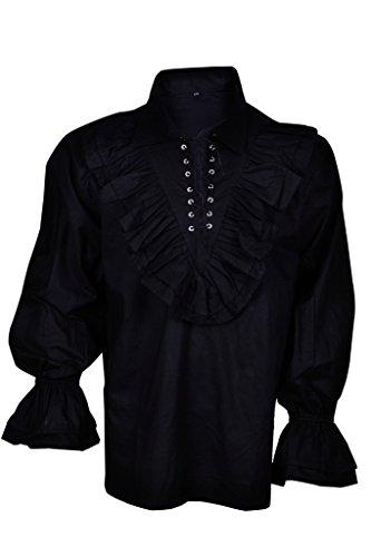 Renaissance beiläufiges Sommer-Piraten-Hemd Mittelalterliche Männer Kostüm-Schwarz-Farbe Large...