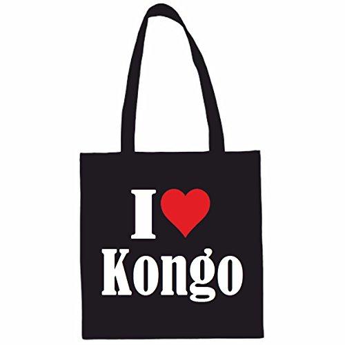 Sac à Bandoulière I Love Kongo Shopping Bag Sac d'école Sac de Sport 38x 42cm en Noir ou Blanc.. Le cadeau parfait pour votre amoureux
