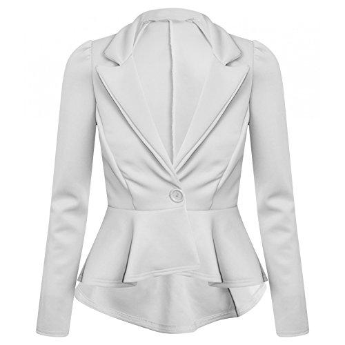 Damen Plus Größe One Button Frill Schößchen -Blazer-Jacken EU-Größe 44-52 (EUR 48 (UK 20), (Plus Kaps Size)