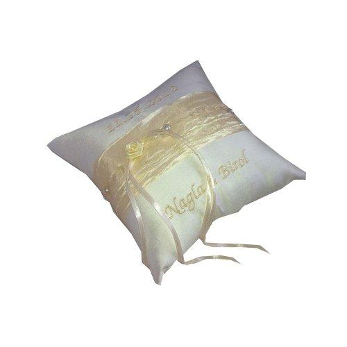 Bague Boutique Coussin Bague perle crêpe de coussin avec clé en couleurs différentes | à la main 17x 17cm Kissen: offwhite , Band: safran Kissen: offwhite , Band: weiss