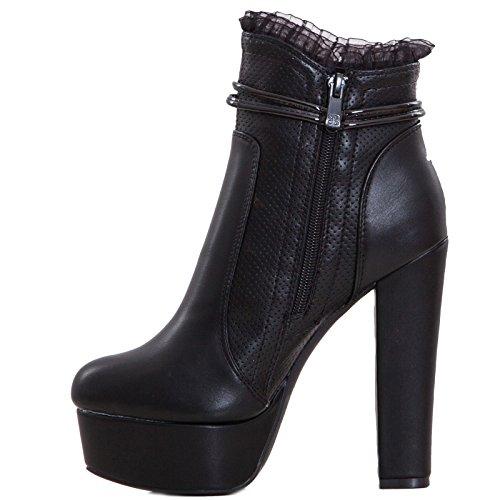 Toocool - Scarpe donna stivali tronchetti traforati plateau tacchi alti nuovi SA8956 Nero