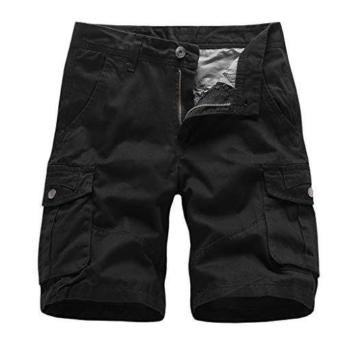 Wrangler Kinder-jeans (GreatestPAK Herren Pocket Kurze Hosen Lässig Einfarbig Straight Slim Fit Hosen Jeans Tooling Multi-Pocket Lose Shorts,Schwarz,EU:M(Tag:32))