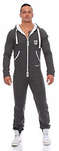 Hoppe Herren Jumpsuit Jogger Jogging Anzug Trainingsanzug Overall Onesie (XL, Grau)