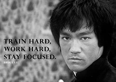 "Salopian Sales Poster Motiv Bruce Lee 3 mit Zitat ""Train Hard, Work Hard"", A3"