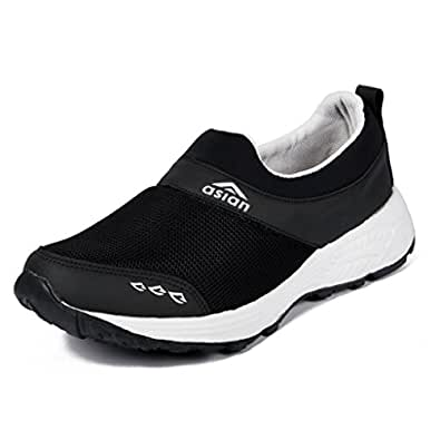 Asian Shoes Men's Black Mesh Sports Shoes - 6 Uk