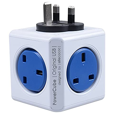 Allocacoc PowerCube 4 Outlets Built-In Dual Powered USB Port Wall Adapter UK Socket Power Strip With Resettable Fuse Cobalt Blue(Buy One Powercube Get One Phone Holder)