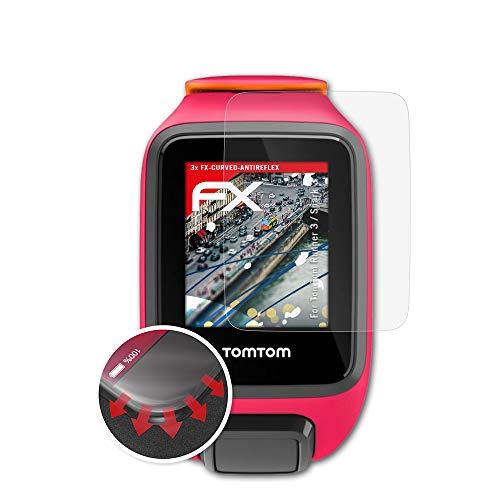 atFoliX Schutzfolie passend für Tomtom Runner 3 / Spark 3 Folie, entspiegelnde und Flexible FX Displayschutzfolie (3X)