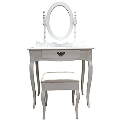 Redstone White Dressing Table Set with Stool and XL Drawer with Dividers - inexpensive UK dressing table store.