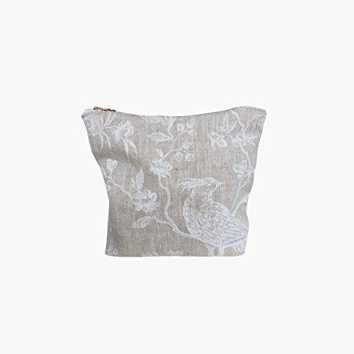 Kosmetiktasche / Schminktasche Elna aus wunderschönem, hochwertigem Leinen mit weißem Muster, goldener Reissverschluss, skandinavischer Landhausstil, natürlich, zeitlos und elegant (Natürliche Reißverschluss)