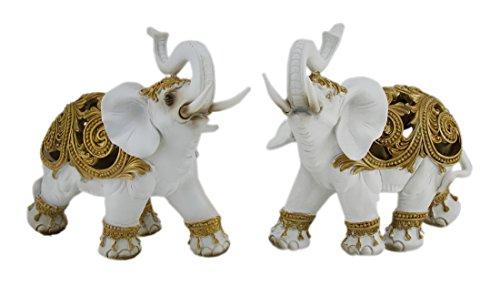 exotique Blanc avec accents dorés 2 pièces tronc jusqu'à éléphant Statue de