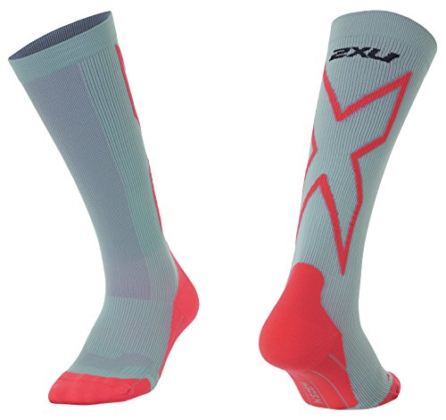 2x u Damen Kompression Performance X Socken, Damen, Pearl Blue/Fiery Coral -