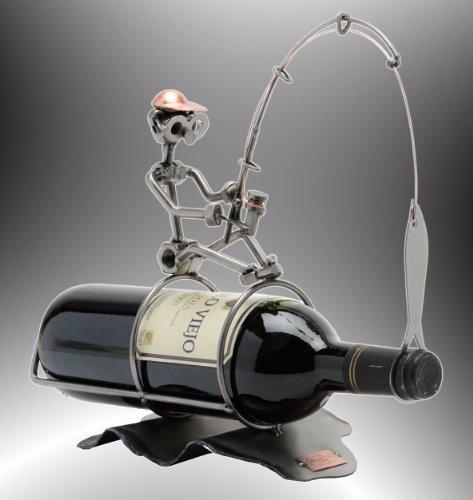 Boystoys HK Design Weinflaschenhalter Angler - Metall Art Weinflaschen-Deko Weinhalter Weingeschenk...