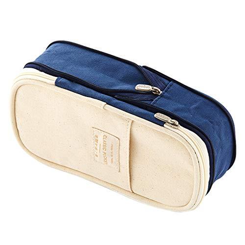 Rolin Roly Pencil Case Large Capacity Pen Pouch Bag Zipper Makeup Bag for Student (Dark Blue)