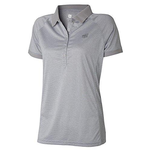 Wilson Golf Femme Polo de sport, STRIPE POLO, Polyester, Gris (Lunar Rock), Taille: S, WGA700323