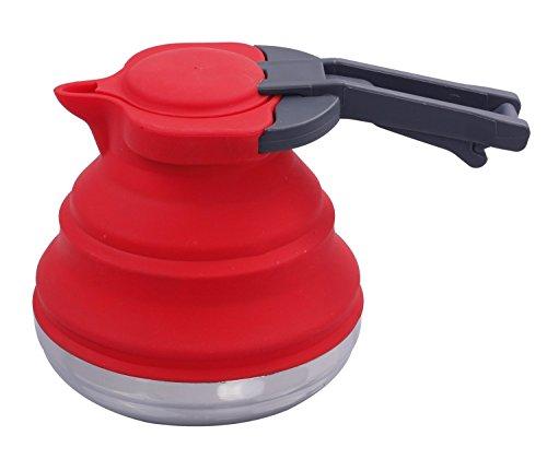LOUTY Red 1.2L Portable Silikon zusammenklappbaren Wasserkocher für Tee Kaffee Outdoor Camping Rucksack Reisen faltbare Wasserkocher