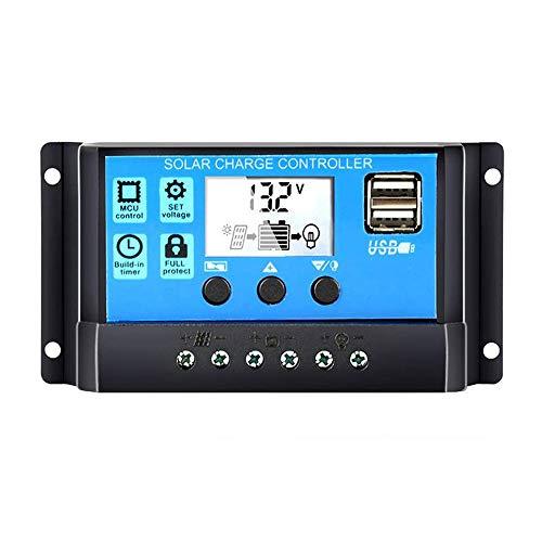 Festnight Regolatore di carica batteria universale per pannello solare 12V / 24V Auto con doppio USB per l'energia solare fai-da-t