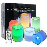Eldnacele Farbwechsel Flammenlose Kerzen Flackern mit 18 Tasten-Fernbedienung und Timer-Set von 6 Echtwachs für Zuhause, Hochzeiten und Partys