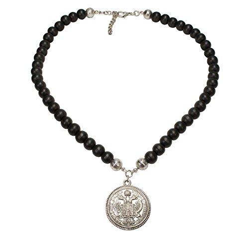 Alpenflüstern Herren Holzperlen-Halskette Münze antik-Silber-Farben HHK008