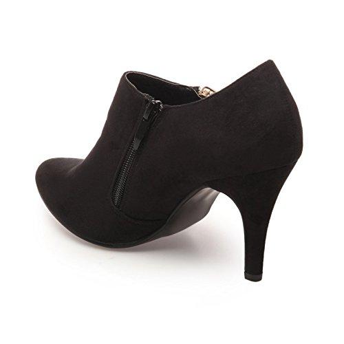 La Modeuse - Low boots femme simili daim Noir