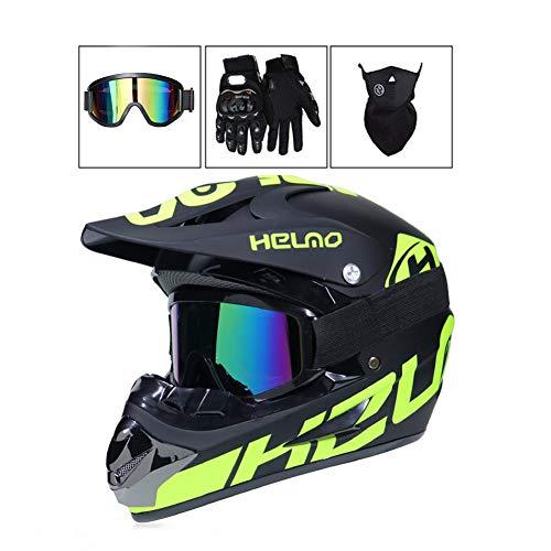 Mrddz Motocross Helm Herren Motorradhelm mit Brille Handschuhe Maske, Vier Jahreszeiten Unisex Crosshelm Off-Road DH Enduro Motorrad Offroad-Helm für Erwachsene Männer Frauen,Green*B,M - Mädchen Motocross Handschuhe