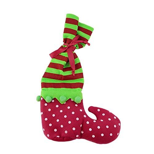 Calcetines de Navidad Botas de elfo Bolsas de dulces Fiesta Decoración para el hogar Regalos Presente Relleno Rojo y verde