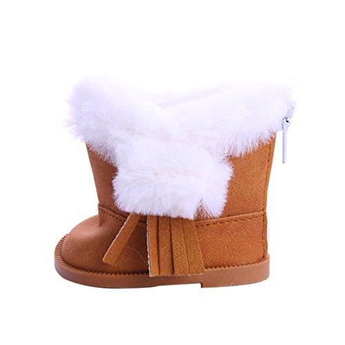 e Stiefel Schuhe mit künstlichen Pelzbesatz Dekoration für 18 Zoll Amerikanische Mädchen Puppe - Grau (Mädchen Gehen Gehen Stiefel)