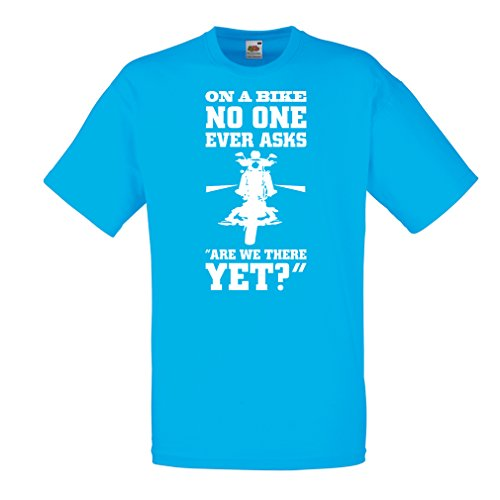 lepni.me N4684 T-Shirt da Uomo On a Bike - Biker Wear (Medium Azzulo