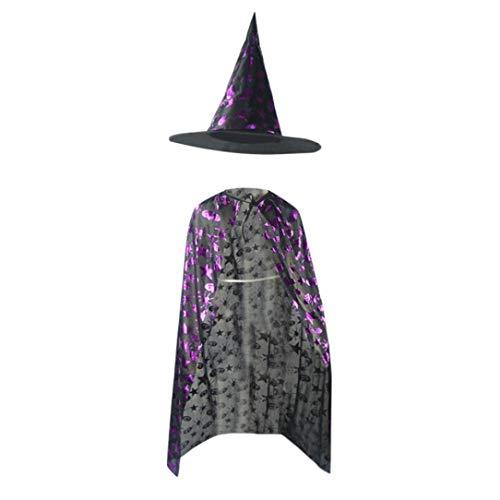 Babykleider,Sannysis Kinder Erwachsene Halloween Baby Kostüm Zauberer Hexe Mantel Cape Robe + Hat Set (140, Lila)