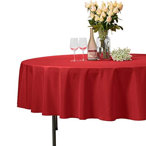 Veeyoo - tovaglia rotonda o quadrata in diverse misure, colore a tinta unita, ottima per apparecchiare la tavola per matrimoni, ristoranti, eventi, tessuto, red, rotondo-178 cm