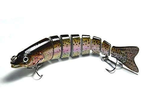 Supertrip TM Bionic Leurres de pêche 5/8-once 5-pied 8 segment Jointed Swimbait Vivant durs avec deux Triple crochet,couleur C