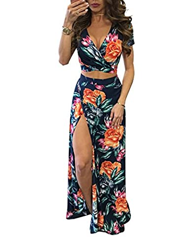 Glamaker Women's V Neck Crop Top Split Maxi Dress Set 2 Pieces Print Outfits Dress