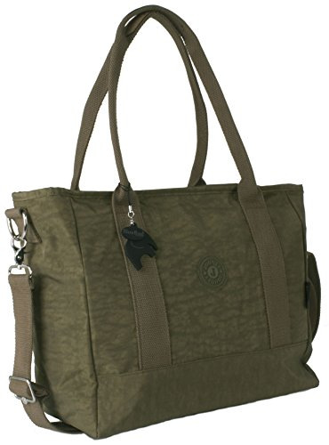 Big Hanbag Shop - Borsa grande Shopper Bag X large a tracolla, leggera Olive Green (HR287)
