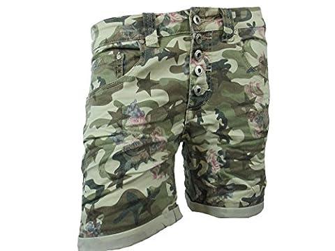 Lieu Vous Jour Denim Cardage Baggy Copain étirement des femmes Shorts Bermuda Boutons Camouflage Fleurs - Camouflage, L / 40