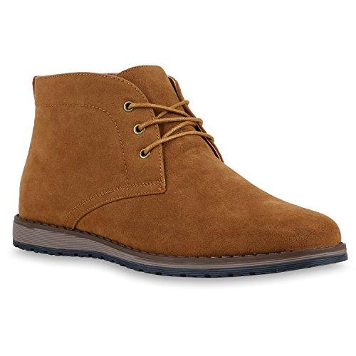 Herren Desert Boots Profil Sohle Schnürer Wildlederoptik Hellbraun