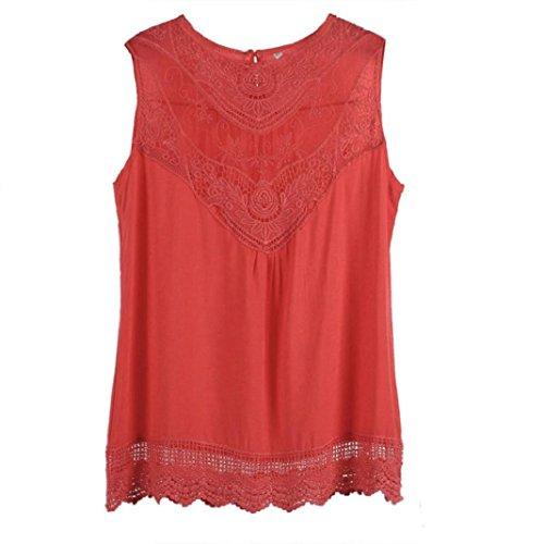Kolylong Frauen Sommer Weste Spitze Sleeveless Spitze Tank Tops Hemd Shirt (M(36), Hot Pink ) (Hot Pink Danke Taschen)
