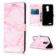ZTE Zmax Pro/ Z981 Case Leather [Cash and 3 Card Slots], Cozy Hut Premium Retro Marble Embossed Patterned PU Leather Stand Function Protective Cases Covers with Card Slot Holder Wallet Book Design Magnetic Closure Secure Lock Case for ZTE Zmax Pro/ Z981 - Pink marble