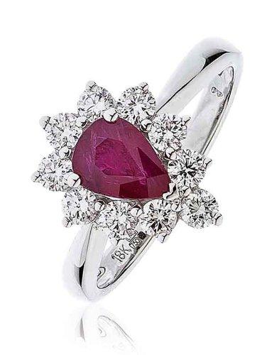 Certificata 1,50CT G/VS2Rubino forma di pera Centro con taglio brillante rotondo forma di pera Halo Diamante Anello In Oro Bianco 18K, oro bianco, 56 (17.8), cod.