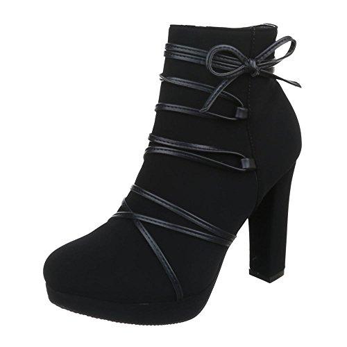 Damen Schuhe Leicht Gefütterte Schlupfstiefel Reißverschluss High Heel Stiefeletten Stiefeletten Pump Schwarz