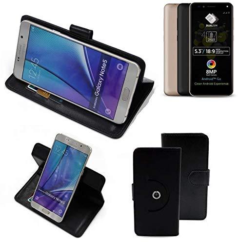 K-S-Trade® Hülle Schutzhülle Case Für -Allview A9 Plus- Handyhülle Flipcase Smartphone Cover Handy Schutz Tasche Bookstyle Walletcase Schwarz (1x)